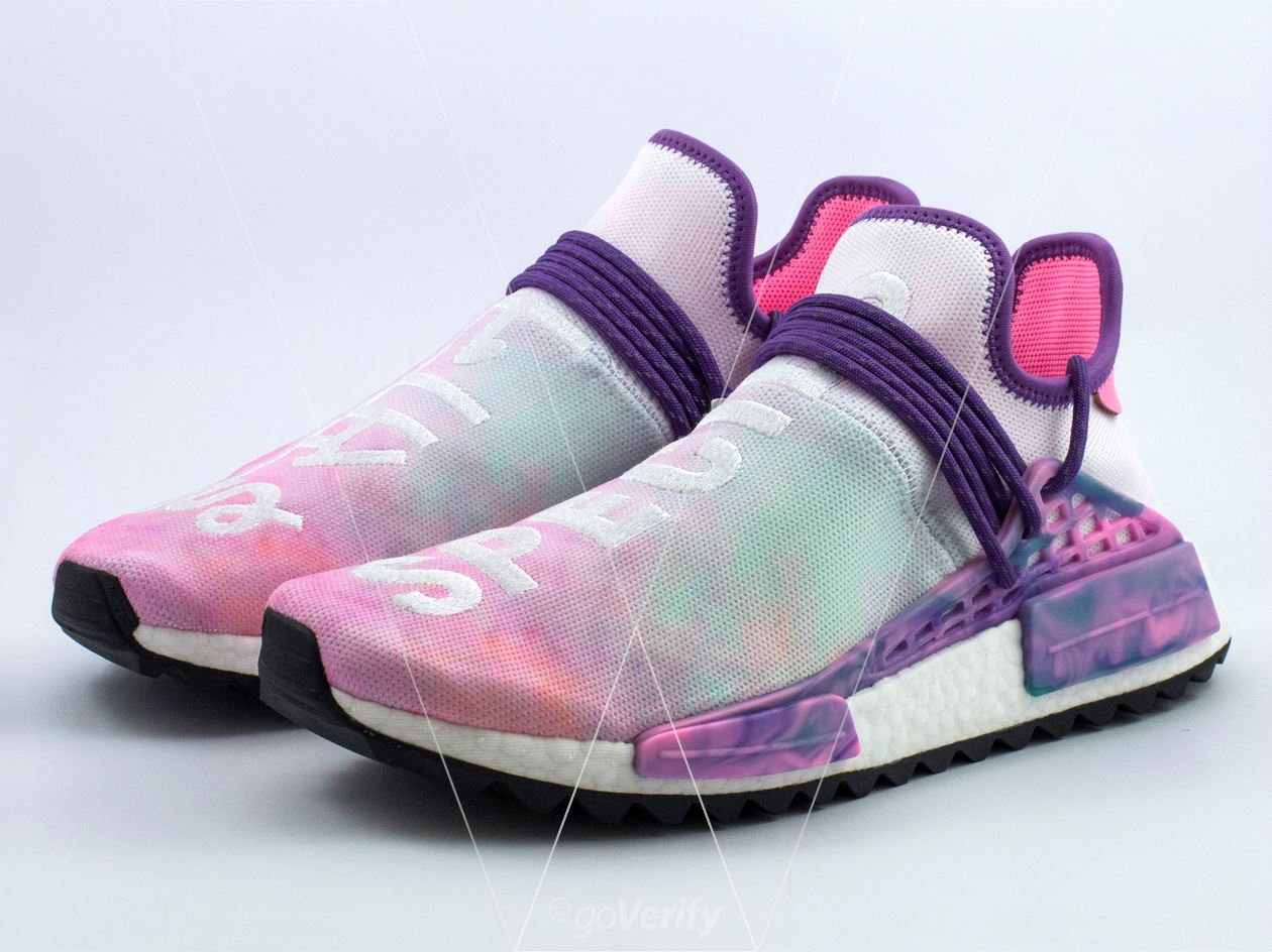 d4173d71b How to spot fake Adidas NMD PW Hu Holi Pink Glow in 31 steps